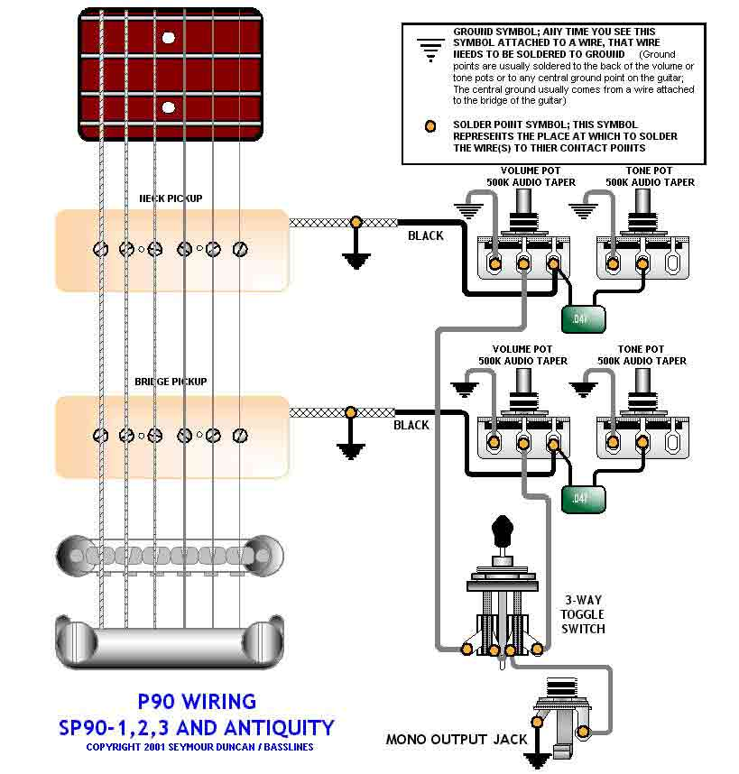 p90 wiring for 50s les paul gibson hollowbody pickups the gretsch pages. Black Bedroom Furniture Sets. Home Design Ideas