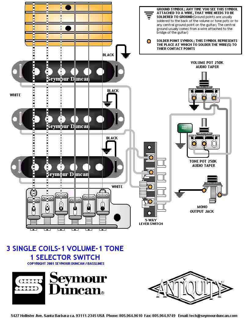 Seymour Duncan P Switches 3 Way Wiring Diagram Singles 5 Switch 1 Volume Tone