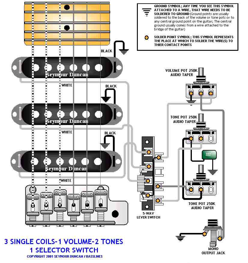 1 T One Wiring Diagram Strat Pick Up 3 Singles 5 Way Switch Volume 2 Tones