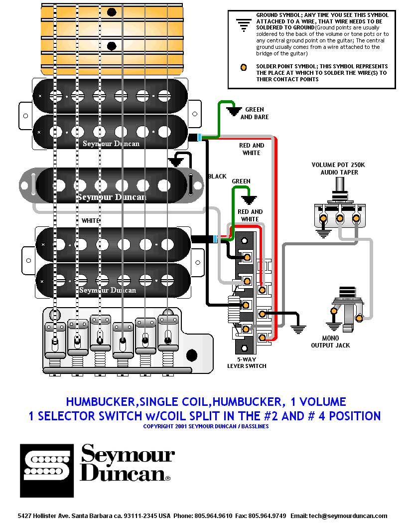 Fender 5 Way Switch Wiring Diagram 2 Humbuckers Library Split Coil Humbucker 1 Single Volume