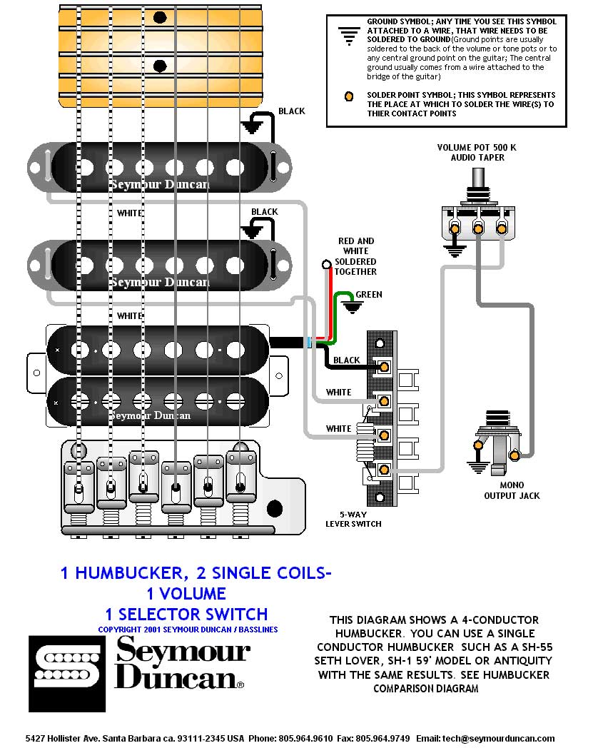 Jackson Wiring Diagram 2 Vol 1 Tone Humbucker Singles 5 Way Switch Volume