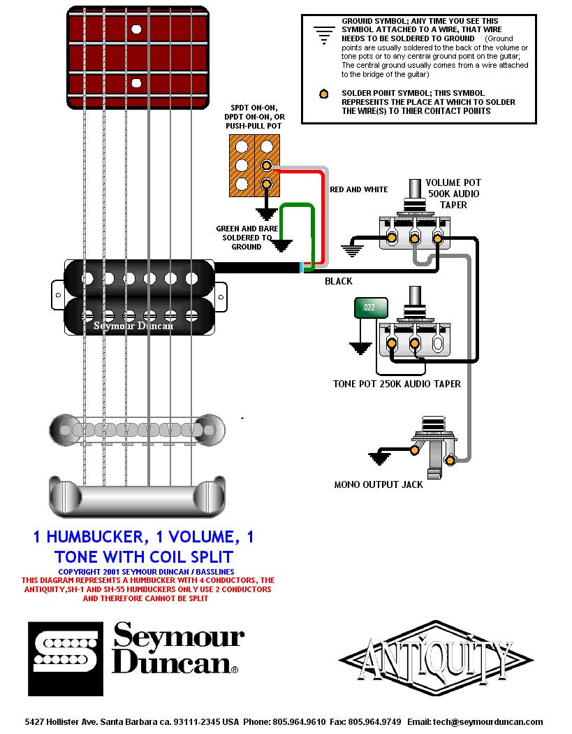 Humbucker 1 Volume T One Wiring Diagram Wire Data Schema Single Seymour Duncan To Split Pickups