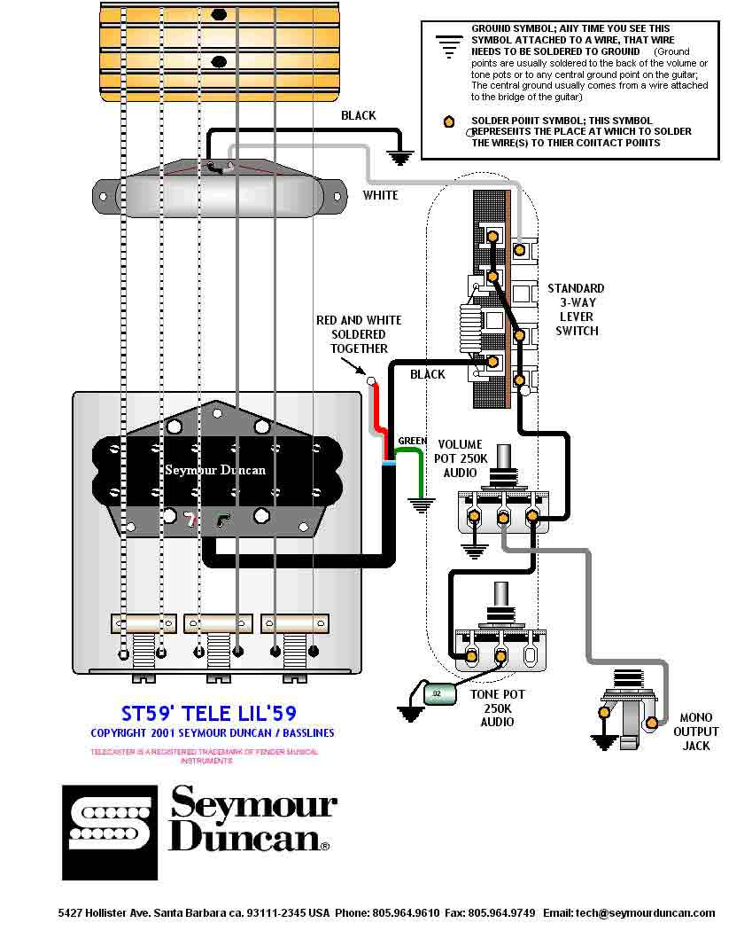 Seymour Duncan Tele Hot Rails Neck Wiring Diagram Library Guitar 2 Humbuckers 3way Lever Switch 1 Volume Tone Humbucker Single 3 Way