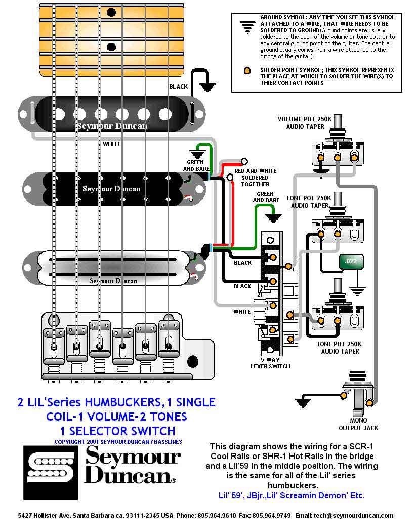 5 Way Switch Diagram 2 Humbuckers 1 Single Volume Tones