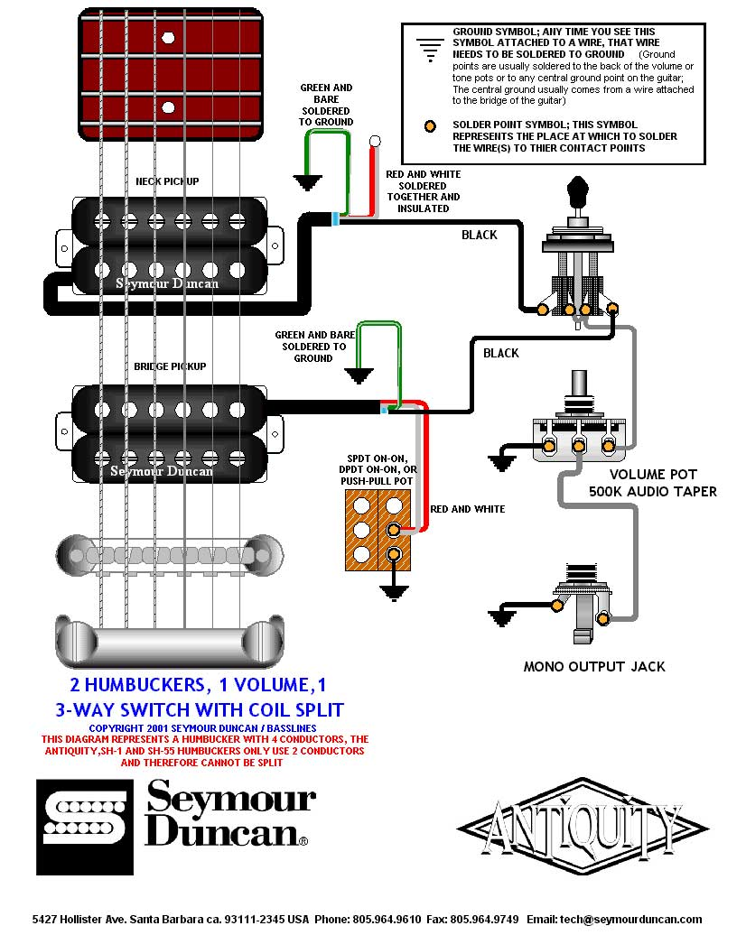Prs Coil Tap Wiring Diagram Free For You Single Guitar 2 Humbuckers 3 Way Switch