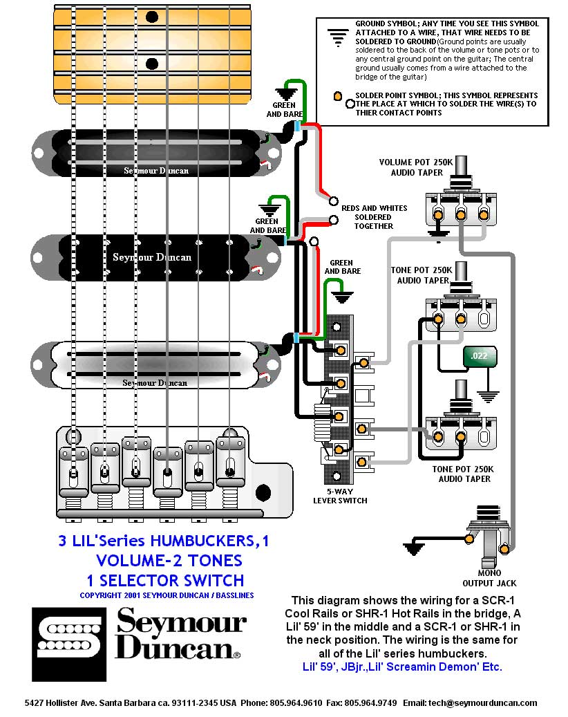 Seymour Duncan Guitar Jack Wiring Diagram 3 Humbuckers 5 Way Switch 1 Volume 2 Tones